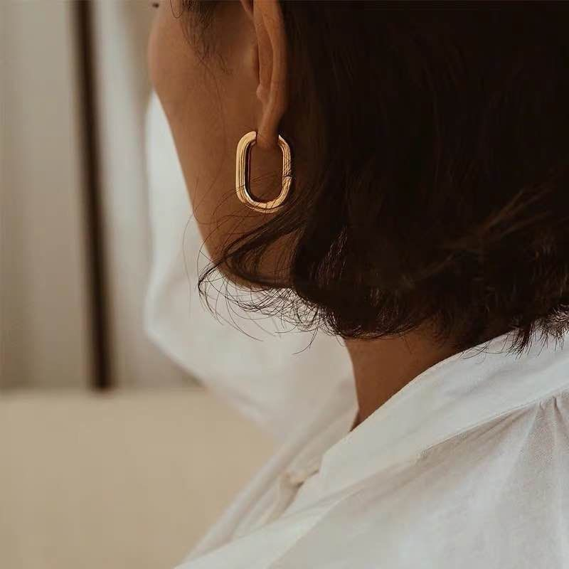 ORTHOSIE Gold Plated Oval Hoop Earrings