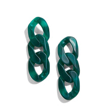 Load image into Gallery viewer, SARGAS Green Resin Chain Earrings