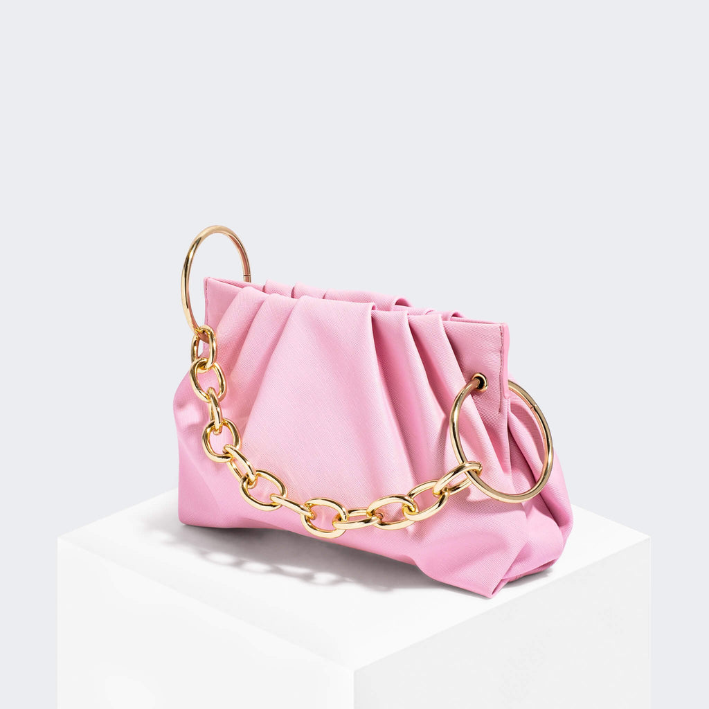 House Of Want CHILL Framed Clutch Pink Saffiano - front