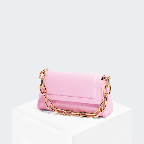 House Of Want HOW WE FASHION Shoulder Bag Pink Saffiano - front