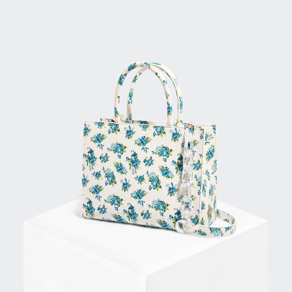 House Of Want HOW WE GRAM Small Tote Blue Floral - front
