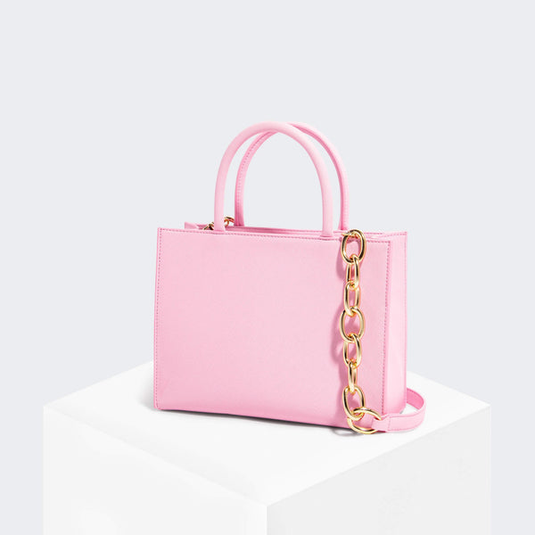 House Of Want HOW WE GRAM Small Tote Pink Saffiano - front