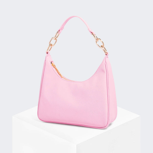 House Of Want NEWBIE Hobo Pink Saffiano - front