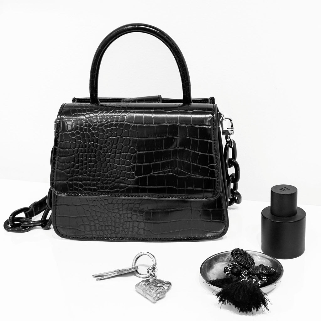 House Of Want NEWBIE Satchel Black Texture - on model