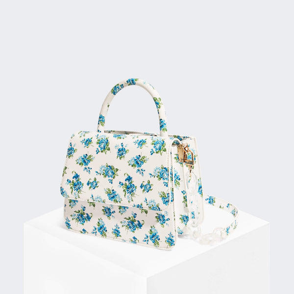 House Of Want NEWBIE Satchel Blue Floral - front