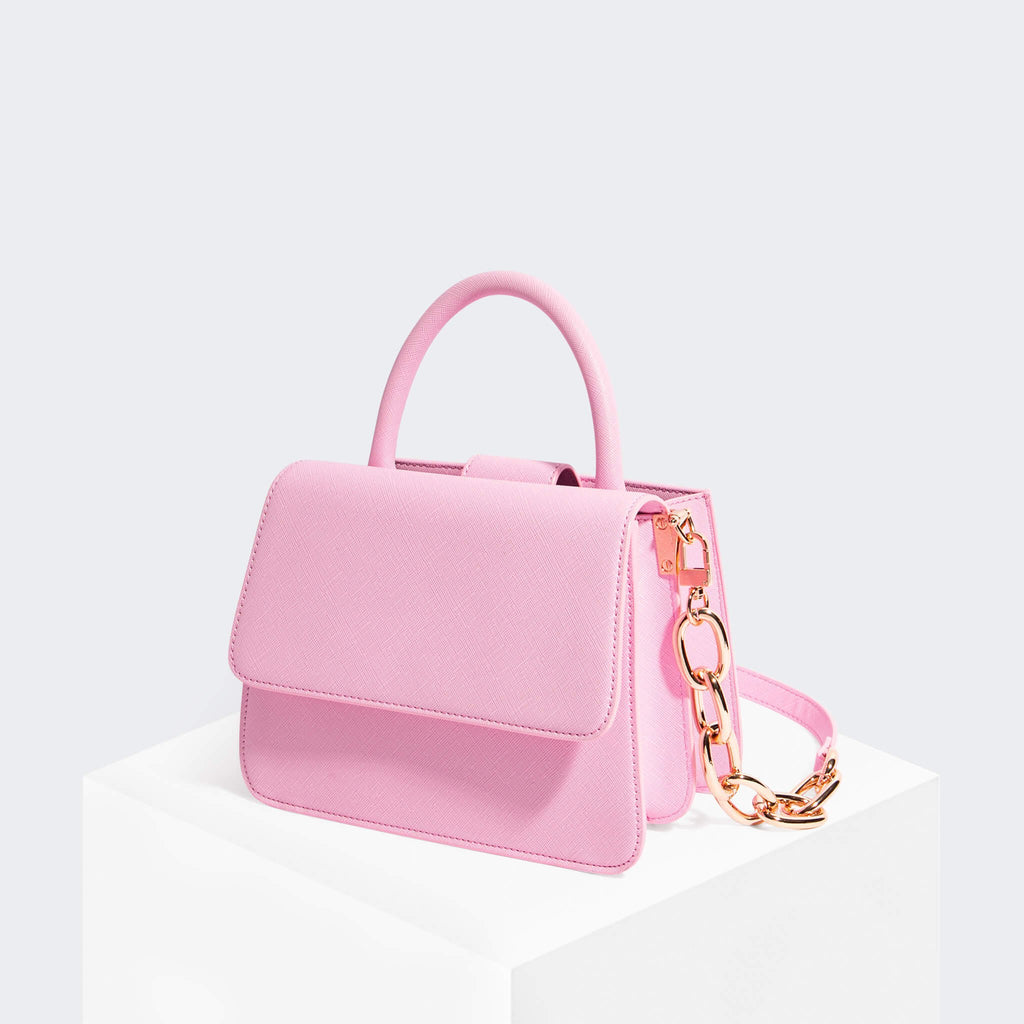 House Of Want NEWBIE Satchel Pink Saffiano - front