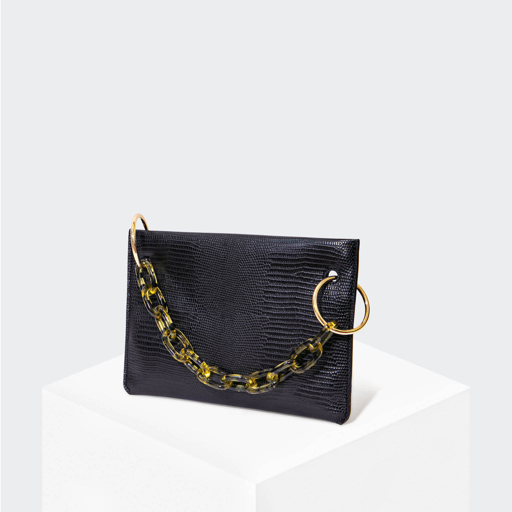 "HOUSE OF WANT ""Chill"" Clutch Black Lizard - front"