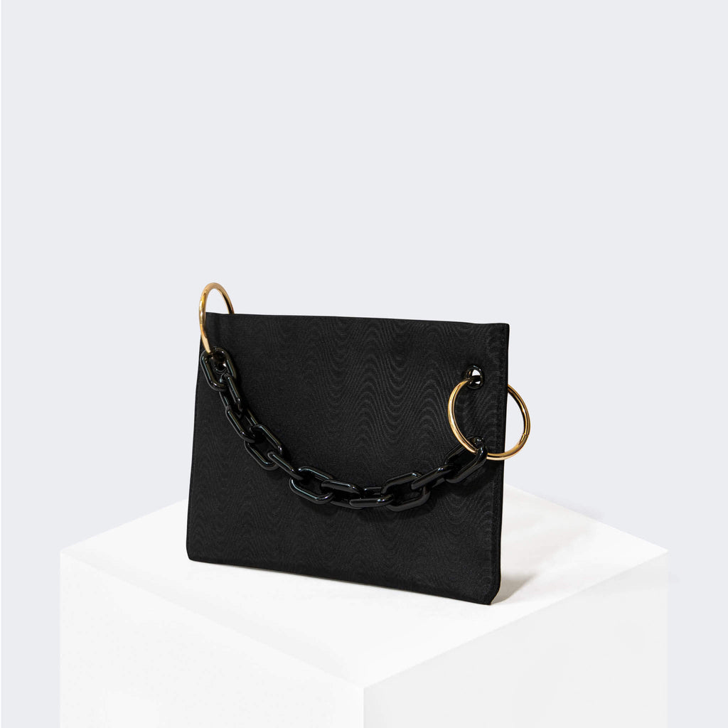 "HOUSE OF WANT ""Chill"" Clutch Black Moire - front"