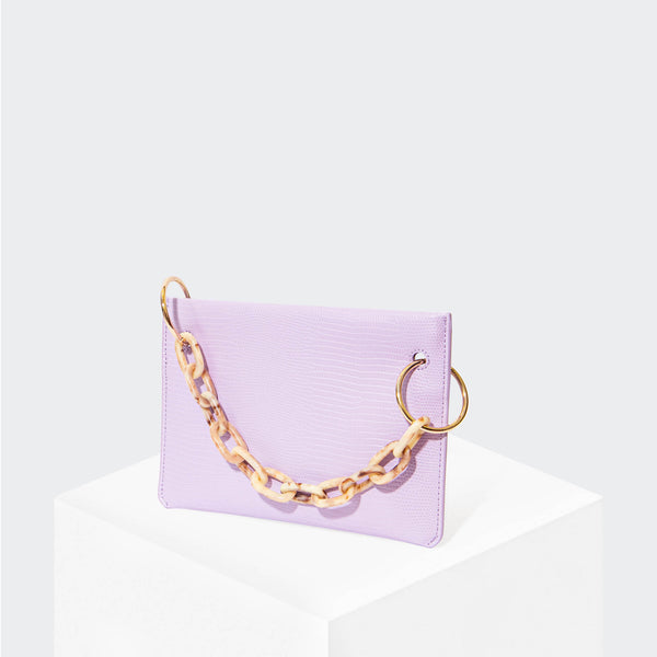 "HOUSE OF WANT ""Chill"" Clutch Lavender Lizard - front"