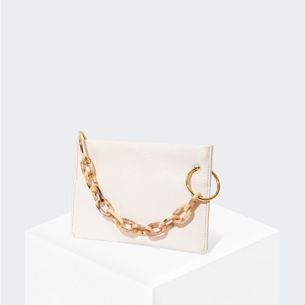 "HOUSE OF WANT ""Chill"" Clutch White Lizard - front"
