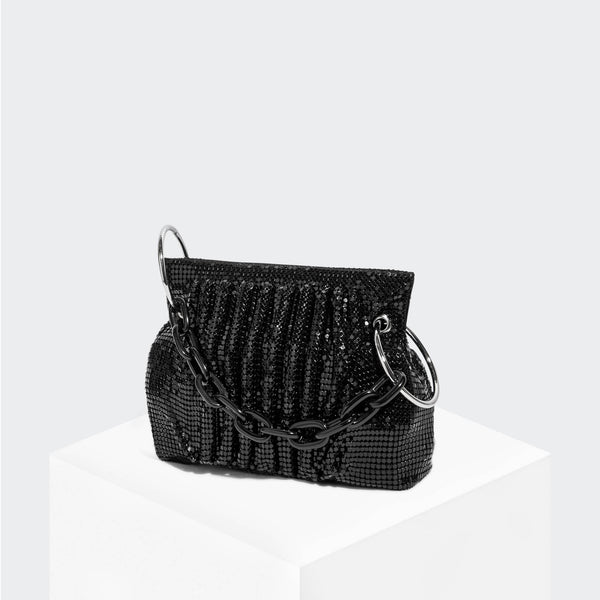 House Of Want CHILL Framed Clutch Black Metal Mesh - front