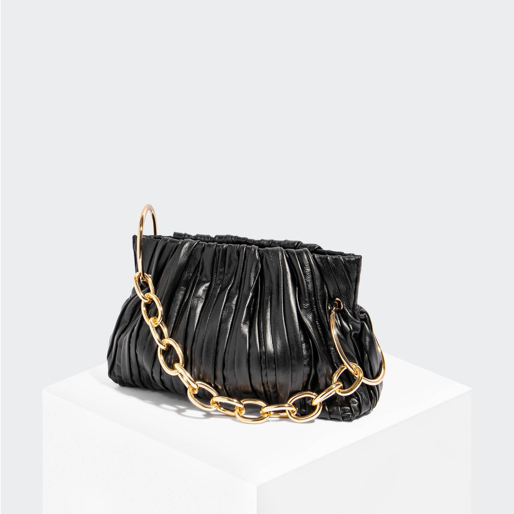 House Of Want CHILL Framed Clutch Black Pleated - front