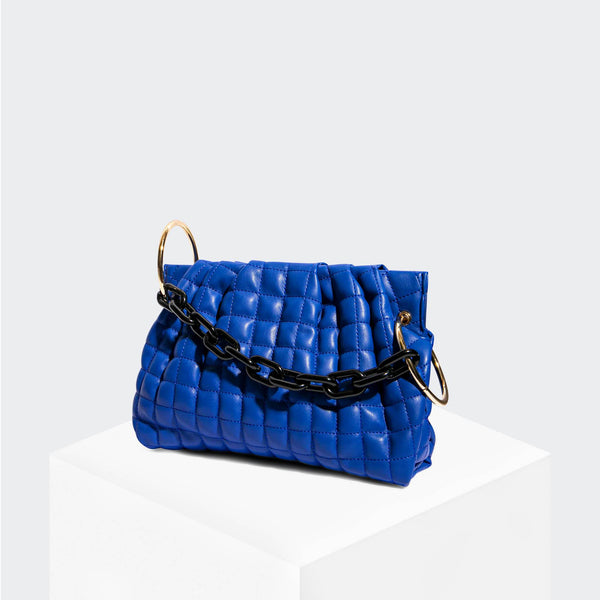 House Of Want CHILL Framed Clutch Blue Quilted - front