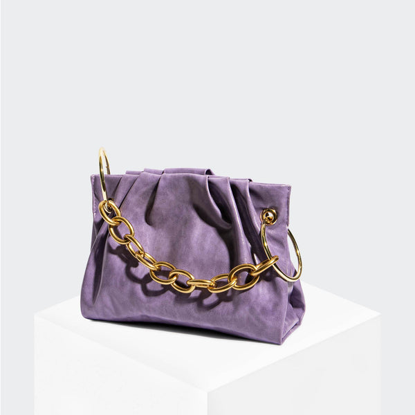 House Of Want CHILL Framed Clutch Lavender Glazed Calf - front