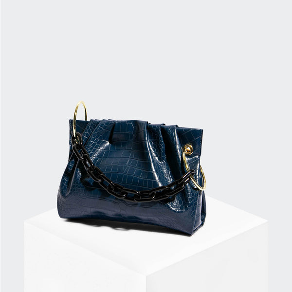 House Of Want CHILL Framed Clutch Navy Croco - front