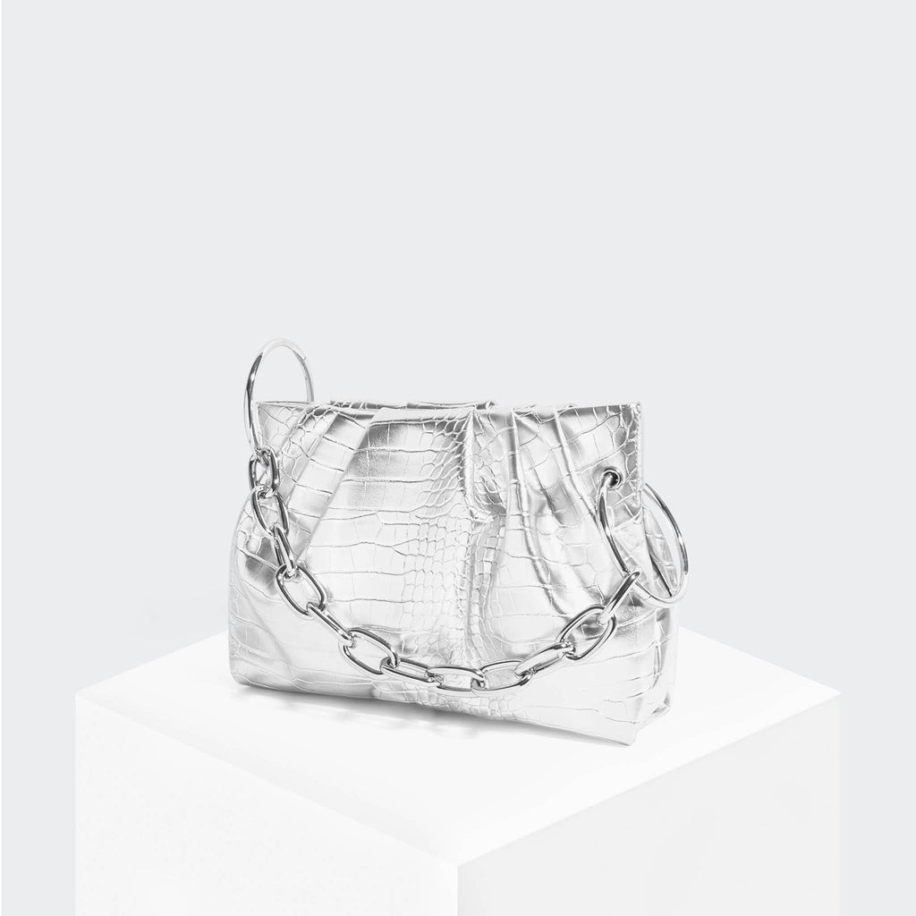 House Of Want CHILL Framed Clutch Silver Croco - front