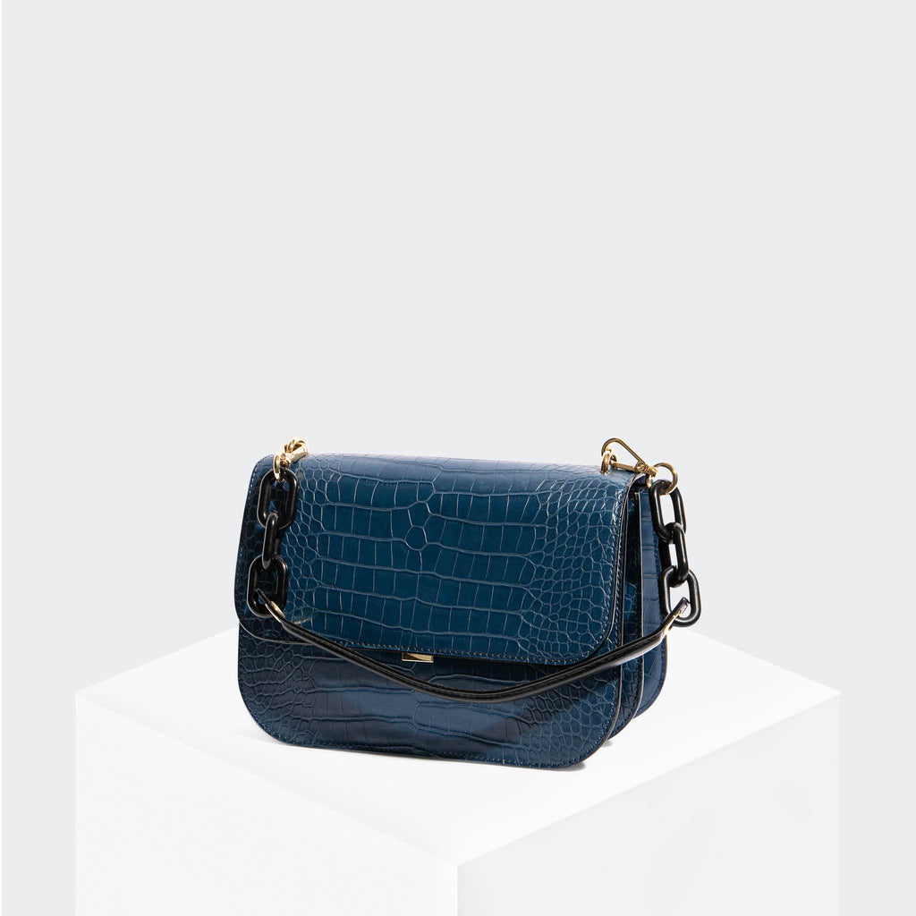 "House Of Want ""Fire"" Saddle Flap Navy Croco - front"
