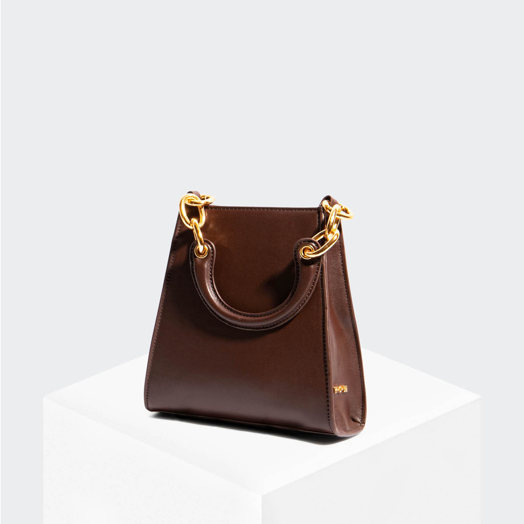 "House Of Want ""Glow Up"" Mini Bucket Brown Box Calf - front"