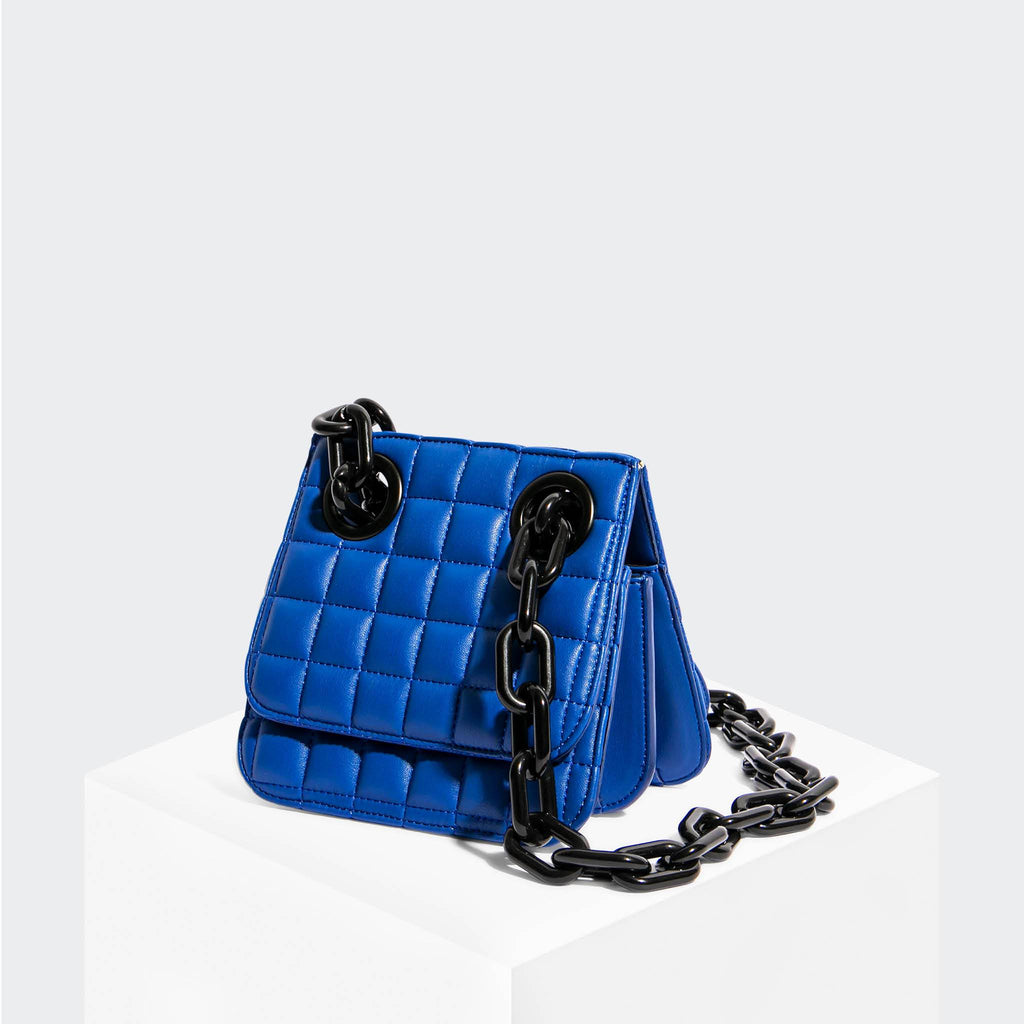 "House Of Want ""H.O.W."" We Are Original Shoulder Bag Blue Quilted - front"
