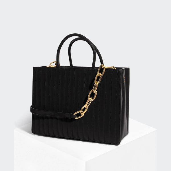 House Of Want HOW WE BOSS Tote Black Nubuck - front