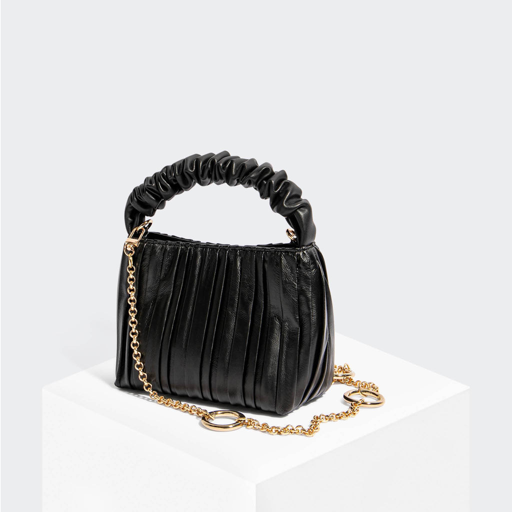 House Of Want HOW WE BRUNCH Mini Tote Black Pleated - front