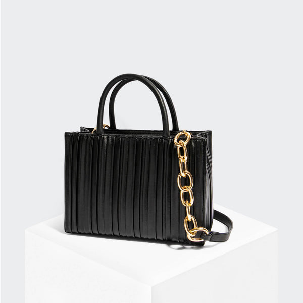 House Of Want HOW WE GRAM Small Tote Black Pleated - front