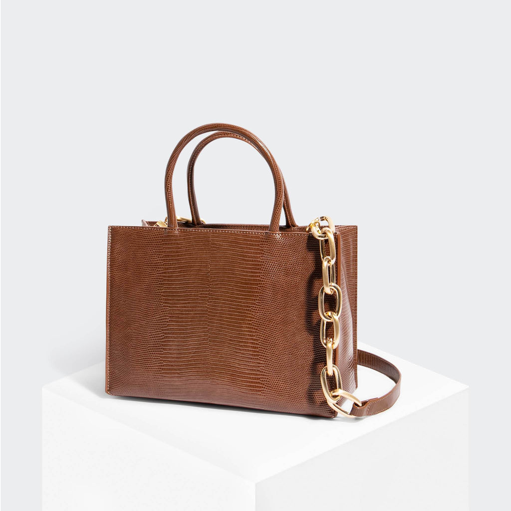 House Of Want HOW WE GRAM Small Tote Chocolate Lizard - front