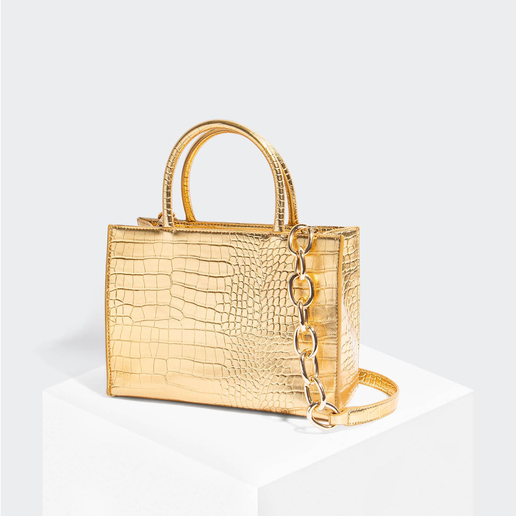 House Of Want HOW WE GRAM Small Tote Gold Croco - front