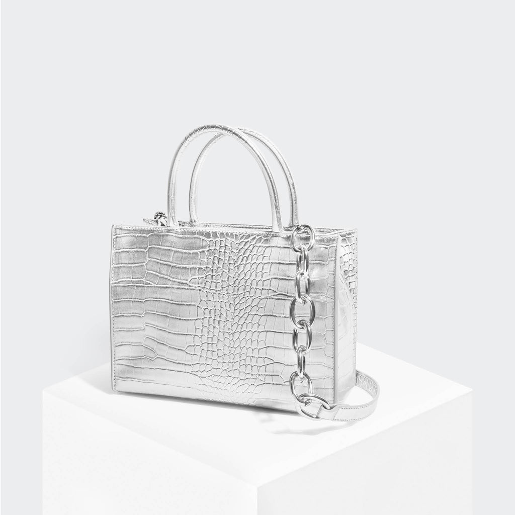 House Of Want HOW WE GRAM Small Tote Silver Croco - front