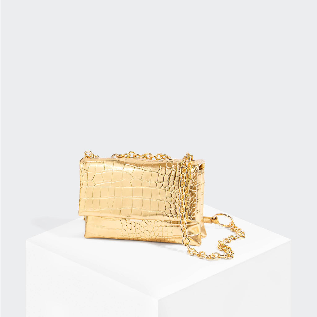 House Of Want HOW WE SLAY Small Shoulder Bag Gold Croco - front