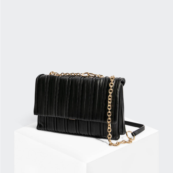 House Of Want HOW WE STEP UP Shoulder Bag Black Pleated - front