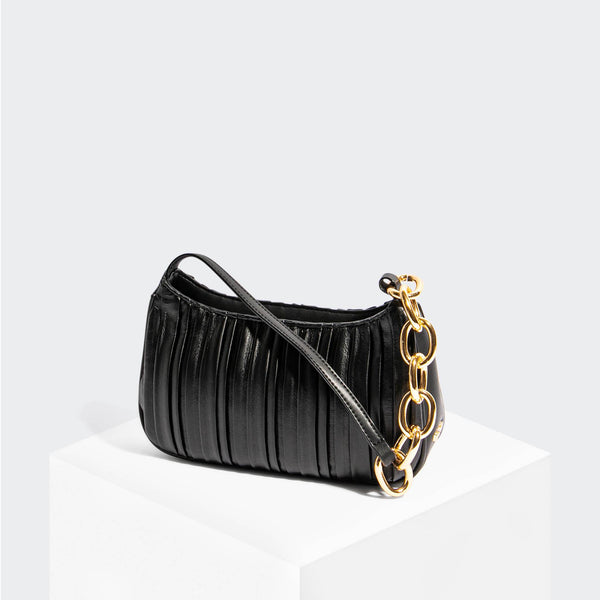 House Of Want NEWBIE Baguette Black Pleated - front