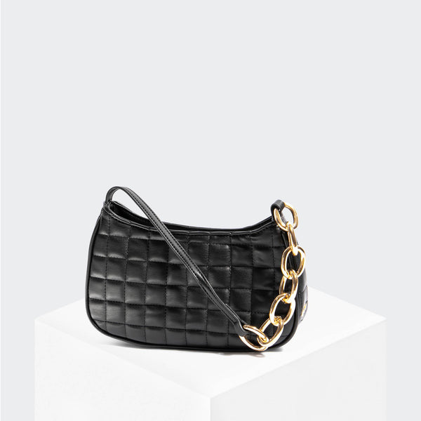 "House Of Want ""Newbie"" Baguette Black Quilted - front"