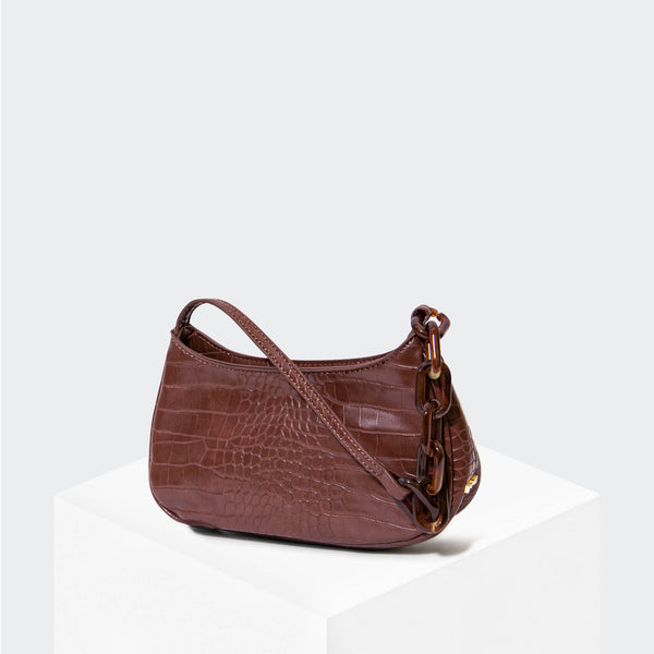 "HOUSE OF WANT ""Newbie"" Baguette Brown Croco - front"