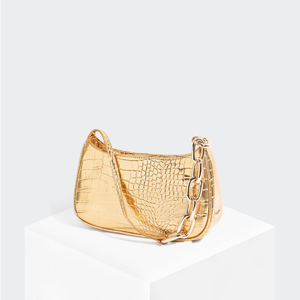 House Of Want NEWBIE Baguette Gold Croco - front