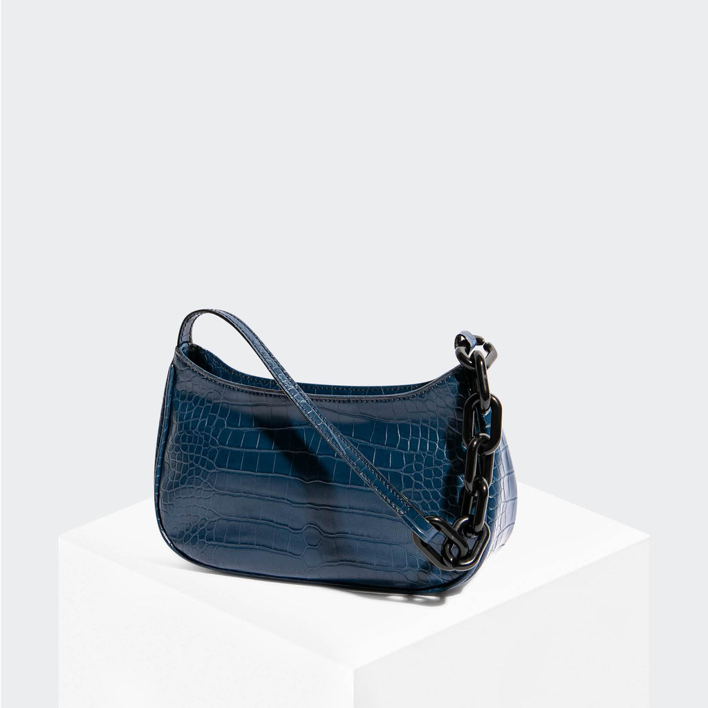House Of Want NEWBIE Baguette Navy Croco - front