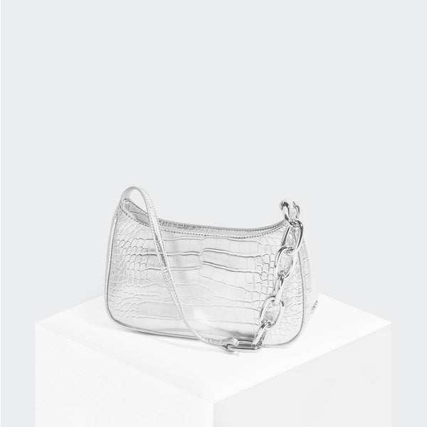House Of Want NEWBIE Baguette Silver Croco - front