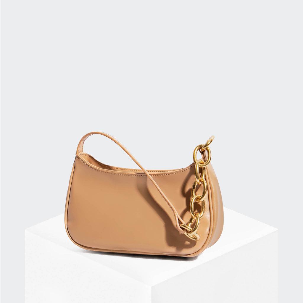 "House Of Want ""Newbie"" Baguette Tan Box Calf - front"