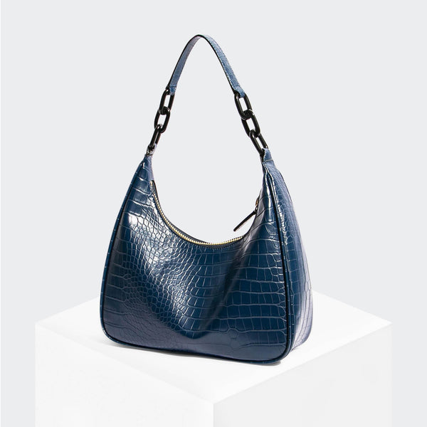 "House Of Want ""Newbie"" Hobo Navy Croco - front"