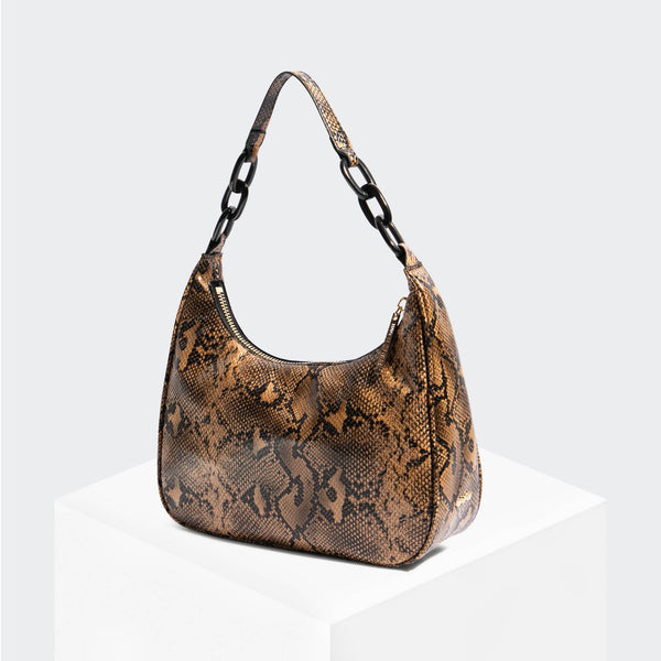 "House Of Want ""Newbie"" Hobo Tan Snake - front"