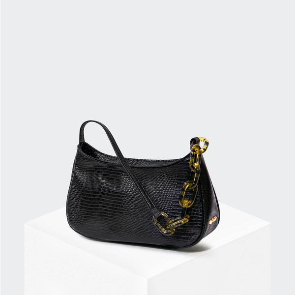 "HOUSE OF WANT ""Newbie"" Baguette Black Lizard - front"