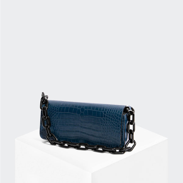 House Of Want NEWBIE Pouchette Navy Croco - front