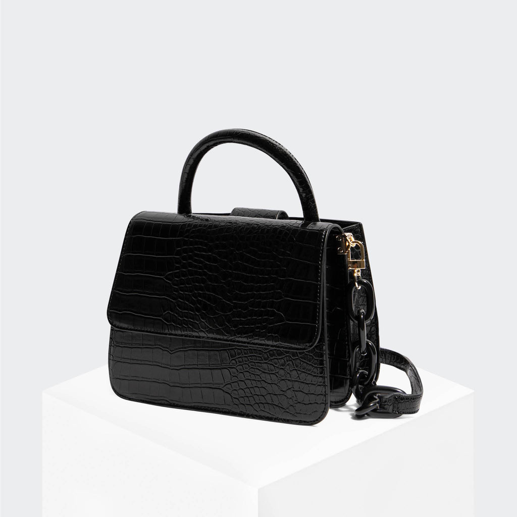 House Of Want NEWBIE Small Satchel Black Croco - front