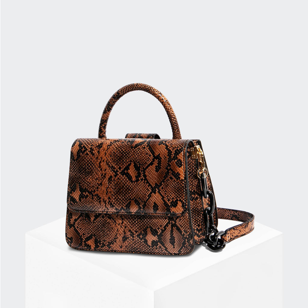 House Of Want NEWBIE Small Satchel Tan Snake - front