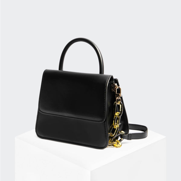 "House Of Want ""Newbie"" Small Satchel Black Box Calf - front"