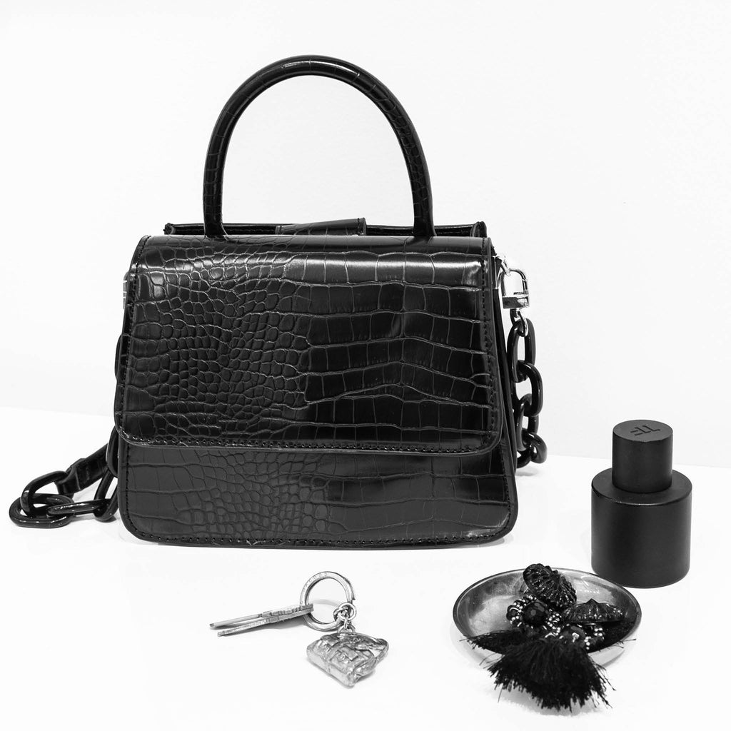 House Of Want NEWBIE Small Satchel Black Croco - on model