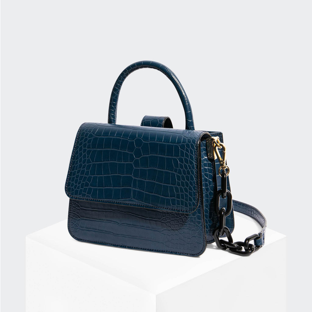 "House Of Want ""Newbie"" Small Satchel Navy Croco - front"