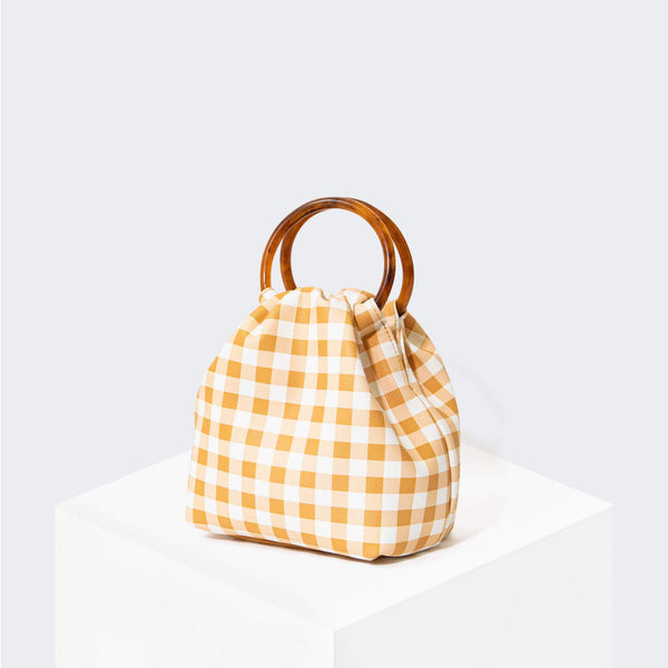 HOUSE OF WANT REAL ONE Ring Top Handle Pouch Gingham - front