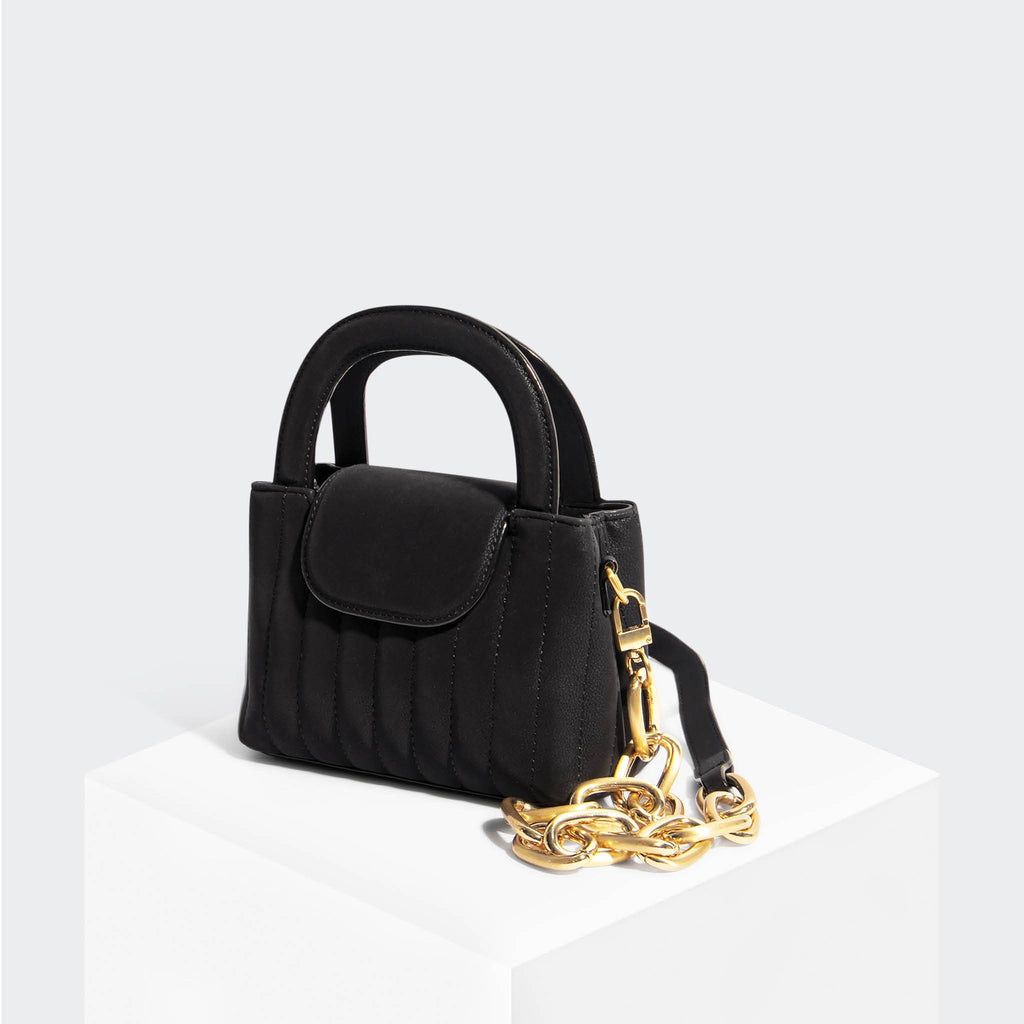 House Of Want SNACK Mini Top Handle Crossbody Black Nubuck - front