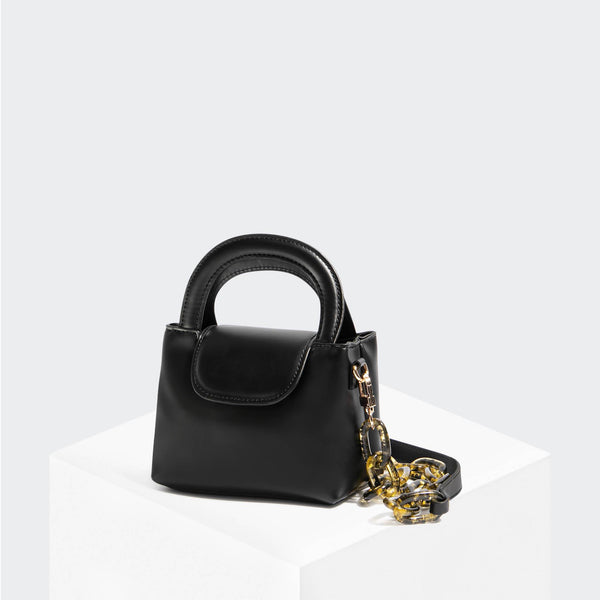 House Of Want SNACK Mini Top Handle Crossbody Black Box Calf - front
